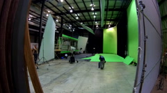 TimeLapse Crew Tearing Down GreenScreen Stock Footage