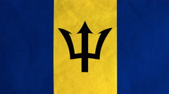 Barbadian flag waving in the wind (full frame footage) Stock Footage