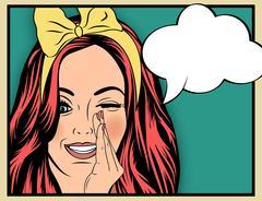 Pop Art illustration of girl with the speech bubble.Pop Art girl. Stock Illustration