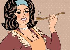 Pop art retro woman with apron tasting her food Stock Illustration