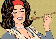 Pop art retro woman with apron tasting her food Stock Illustration