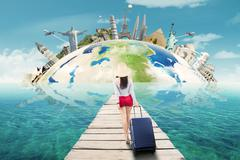 Female tourist travelling to the worldwide monument Stock Photos