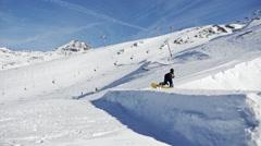 Snowpark L2A Jump Slowmotion Stock Footage