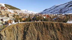 Over The Cliff Les Deux Alpes Aerial 4k Stock Footage