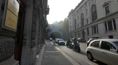 Driving on Via Silvio Pellico street in Trieste Stock Footage