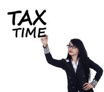 Woman remind the time to pay tax duty - stock photo