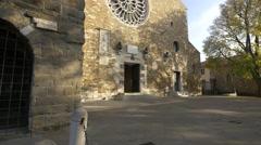 The main entrance to Cattedrale di San Giusto Martire in Trieste Stock Footage