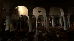 Arches and benches in Cattedrale di San Giusto Martire, Trieste Stock Footage