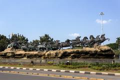 Arjuna Wijaya chariot statue in Jakarta - stock photo