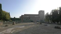 Forense Roman Basilica seen in sunlight in Trieste Stock Footage