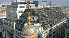 Aerial view in 4K from the terrace of store Printemps Stock Footage