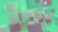 Background moving cubes different colors beige light green pink Stock Footage