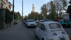 Cars driving on Via Don Luigi Sturzo near Chiesa Madonna Del Mare in Trieste Stock Footage