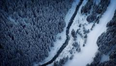 Aerial Above River In Frozen Wilderness Stock Footage