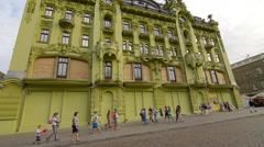 Odessa, Deribasovskaya Street, big Moscow Hotel, pedestrians walking Stock Footage