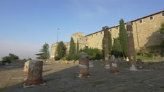 View of old Roman columns at Forense Roman Basilica in Trieste Stock Footage