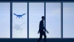 UAV drone looking through window as figure walks by, 3D animation Stock Footage