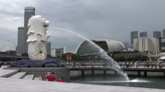 The Singapore Merlion Fountain - stock footage