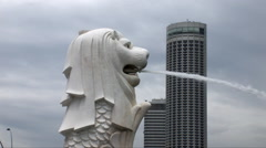 Stock Video Footage of The Singapore Merlion Fountain