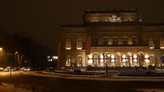 4k National theatre Braunschweig city with snow winter Stock Footage