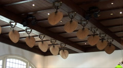 Old style fans in the Long Bar at Raffles Hotel Stock Footage