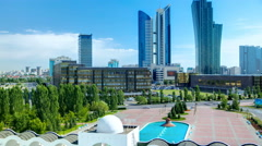 New business district timelapse from roof in the capital of Kazakhstan in Astana Stock Footage