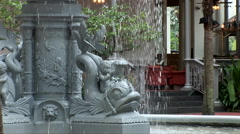 Fountain in the courtyard of Raffles Stock Footage