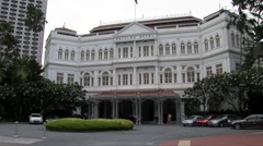 The front of Raffles Hotel Stock Footage