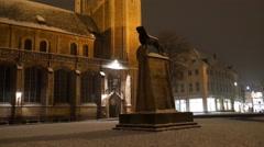4k Lion statue monument Braunschweig city night snow winter Stock Footage