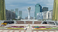 View of Astana modern city with baiterek and towers timelapse Stock Footage