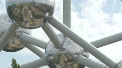 Pan view of the Atomium in Brussels Stock Footage