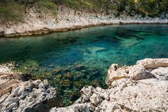Beautiful nature of Calanques on the azure coast of France. Coas Stock Photos