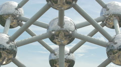 Tilt up shot of the famous Atomium in Brussels Stock Footage