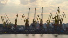 Cranes are working at Odessa trading port, time lapse - stock footage
