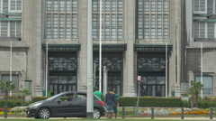 Tilt up view of famous Brussels Expo building in Brussels Stock Footage