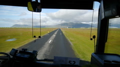 The road along the south coast. View from the bus. Iceland Stock Footage