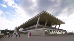 Modern, cubic horizontal building, cruise, passenger terminal, Odessa time lapse Stock Footage