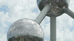 Clouds moving on the sky, behind the Atomium spheres in Brussels Stock Footage