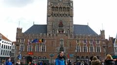 Bruges belfry in 4 K - stock footage
