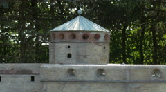 Tower of Olavinlinna Castle from Finland displayed at the Mini-Europe, Brussels Stock Footage