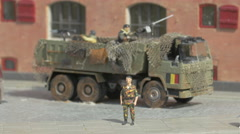 A military truck and plastic figurines displayed at the Mini-Europe, Brussels Stock Footage