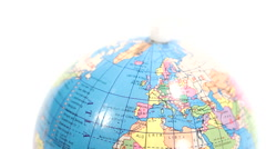 Colored plastic globe. Defocus on Northern Hemisphere / Europe. Blurred to sharp - stock footage