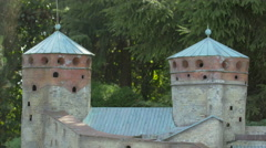 Towers of Olavinlinna Castle from Finland displayed at the Mini-Europe, Brussels Stock Footage