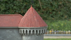 Close up of Fat Margaret cannon tower displayed at the Mini-Europe, Brussels Stock Footage