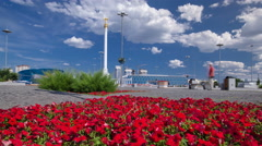 Stele monument Kazakh Eli with bird Samruk and Palace of Independence timelapse - stock footage