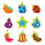 Bright Fantasy Fruits, Vector Illustration Stock Illustration