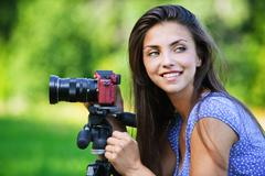 portrait young charming woman camera - stock photo