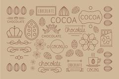 Cocoa Icon, logo, Signs and Badges. Vector Illustration Set Stock Illustration