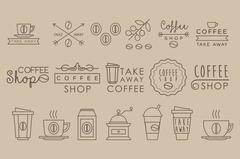 Coffee Set. Linear Vector Illustration Stock Illustration