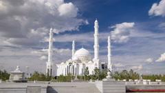 The Hazrat Sultan Mosque in Astana timelapse hyperlapse, Kazakhstan Stock Footage